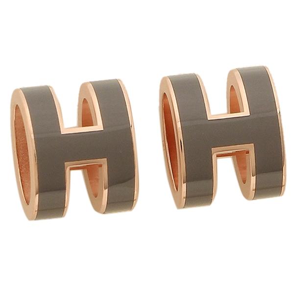 HERMES ピアス アクセサリー レディース エルメス H608001FO 1D グレー ピンクゴールド