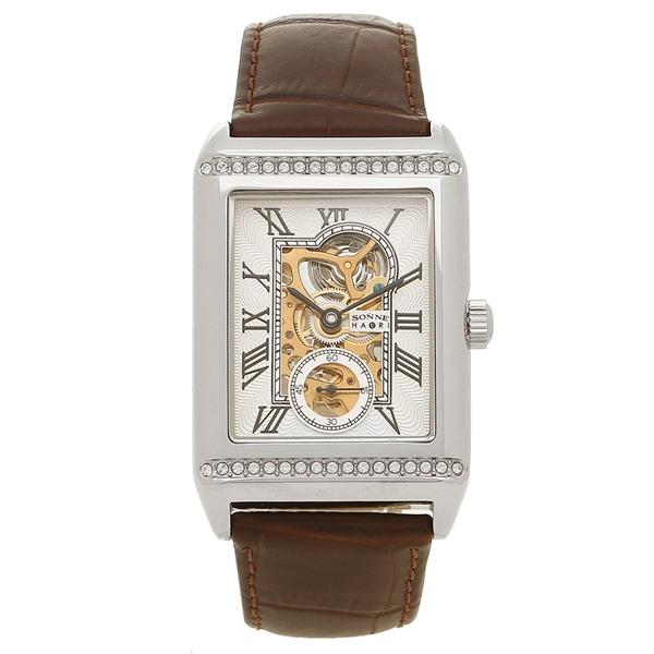 SONNE 腕時計 メンズ 手巻き ゾンネ H021SSZBR ブラウン シルバー