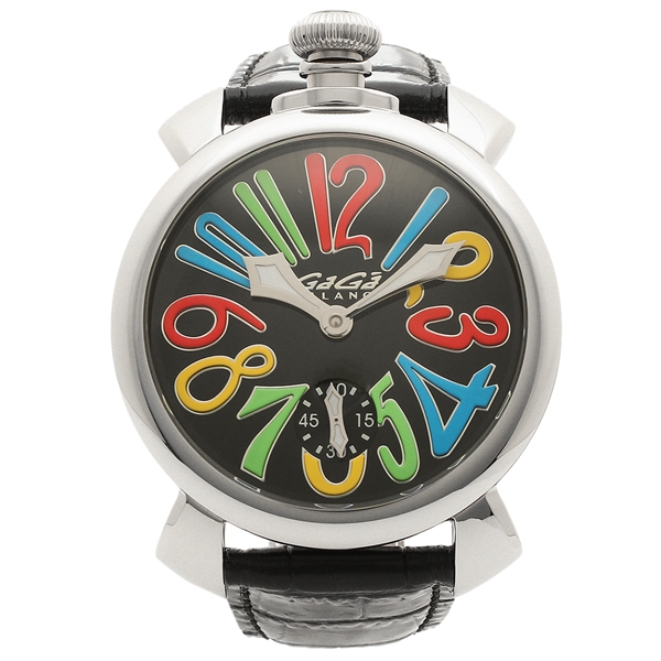 GAGA MILANO 腕時計 メンズ ガガミラノ 5010.02S-BLK-NEW ブラック マルチカラー シルバー