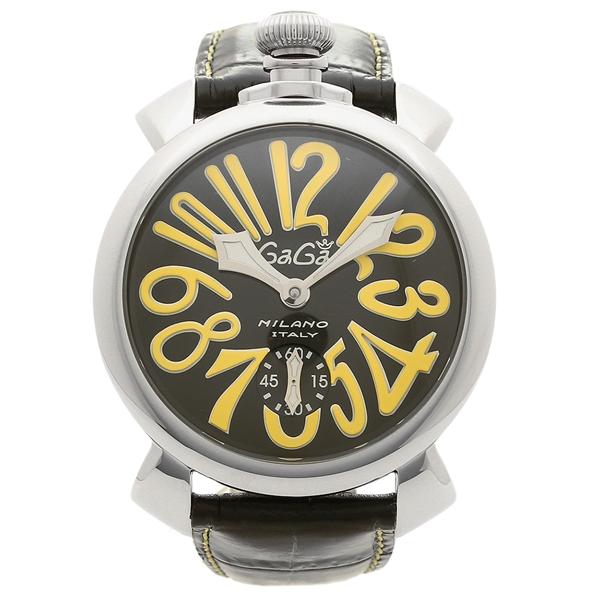GAGA MILANO 腕時計 メンズ ガガミラノ 5010.12S-BLK ブラック シルバー イエロー