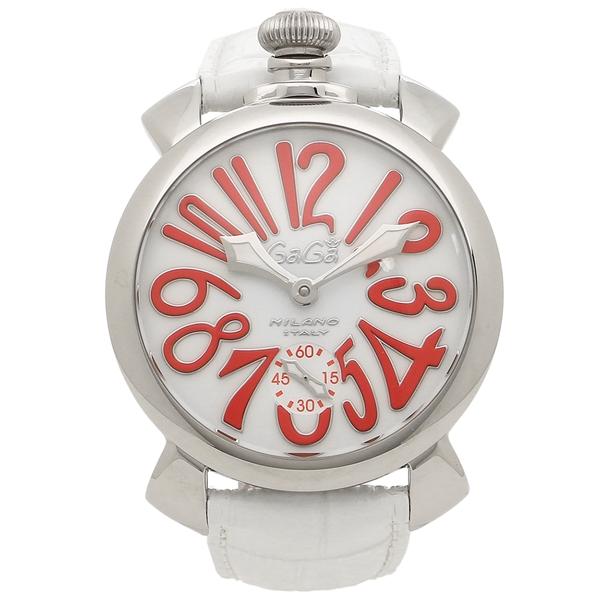 GAGA MILANO 腕時計 メンズ ガガミラノ 5010.14S-WHT ホワイト シルバー レッド