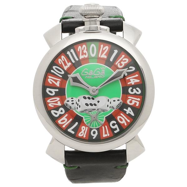 GAGA MILANO 腕時計 メンズ ガガミラノ 5010.LV01BLK グリーン ブラック シルバー マルチカラー