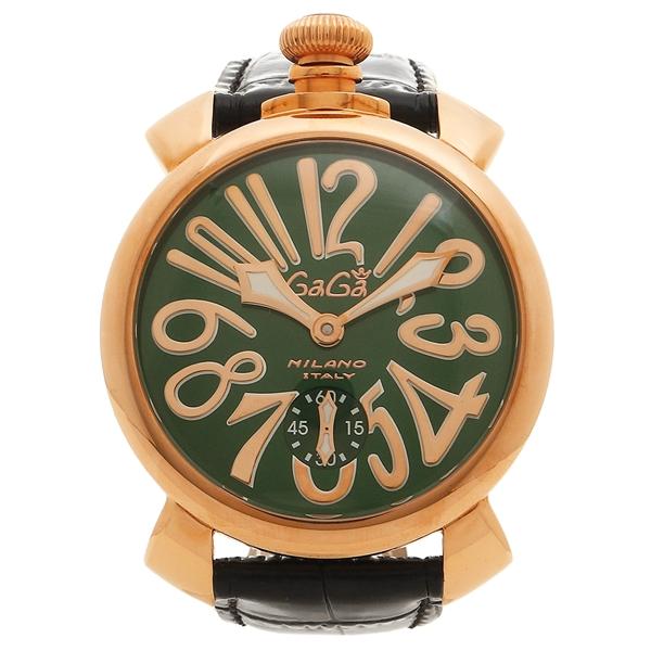 GAGA MILANO 腕時計 メンズ ガガミラノ 501104S-BLK グリーン ブラック