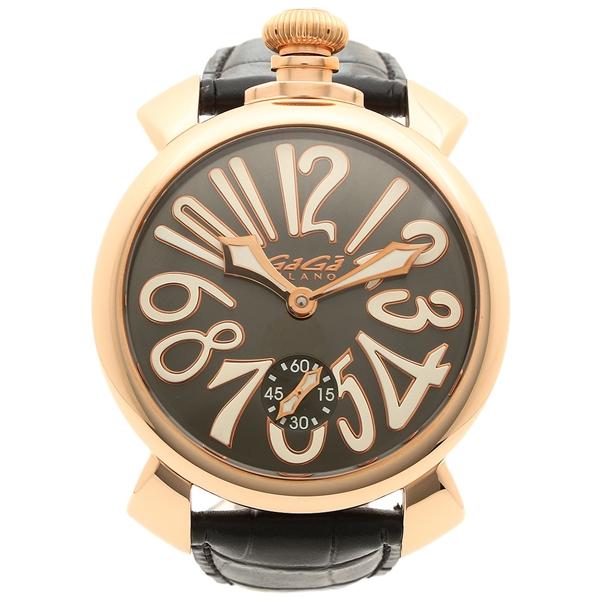 GAGA MILANO 腕時計 メンズ ガガミラノ 5011.07S-BLK-NEW グレー ブラック ピンクゴールド
