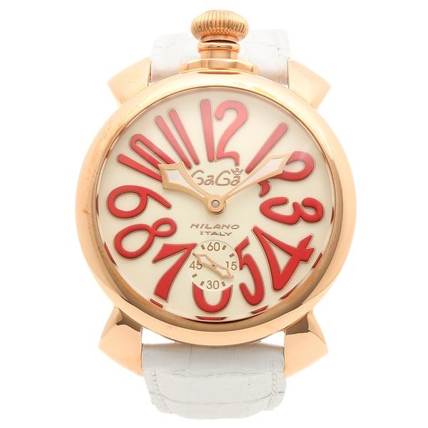 GAGA MILANO 腕時計 メンズ ガガミラノ 5011.10S-WHT アイボリーホワイト レッド ピンクゴールド