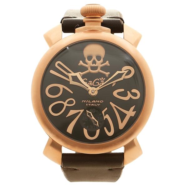 GAGA MILANO 腕時計 メンズ ガガミラノ 5011ART01S-BRW ブラック ピンクゴールド