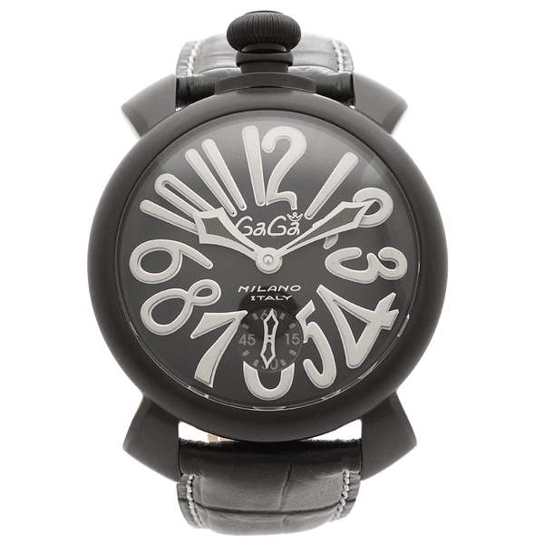 GAGA MILANO 腕時計 メンズ ガガミラノ 5012.06S-BLK ブラック ホワイト