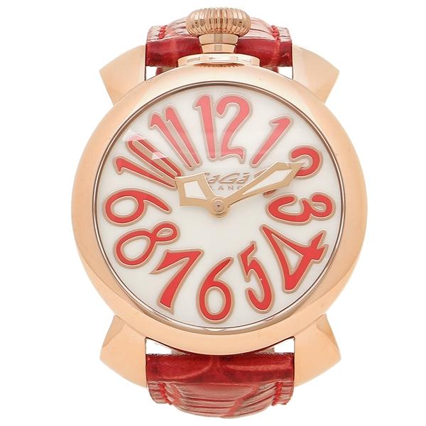 GAGA MILANO 腕時計 メンズ ガガミラノ 5021.5-RED-NEW ホワイト レッド イエローゴールド