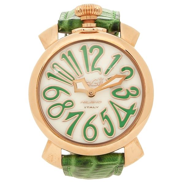 GAGA MILANO 腕時計 メンズ レディース ガガミラノ 5021.6-GRN ホワイトパール グリーン ピンクゴールド