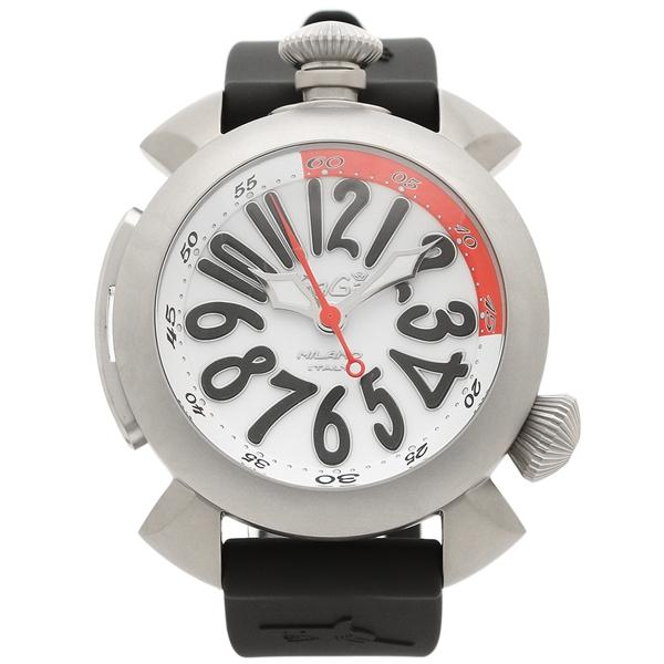 GAGA MILANO 腕時計 メンズ ガガミラノ 5040.3BLKRUBBER ホワイト シルバー ブラック