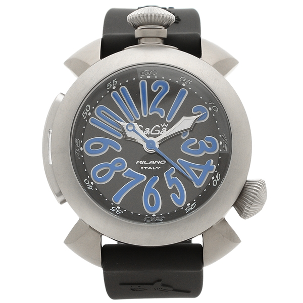 GAGA MILANO 腕時計 メンズ ガガミラノ 5040.4-BLKRUBBER ブラック ブルー