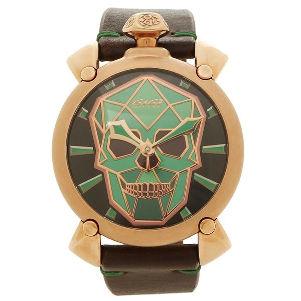 GAGA MILANO 腕時計 メンズ ガガミラノ 5061.02S グリーン ブラック ピンクゴールド