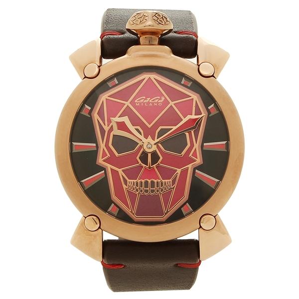 GAGA MILANO 腕時計 メンズ ガガミラノ 5061.03S レッド ブラック ピンクゴールド