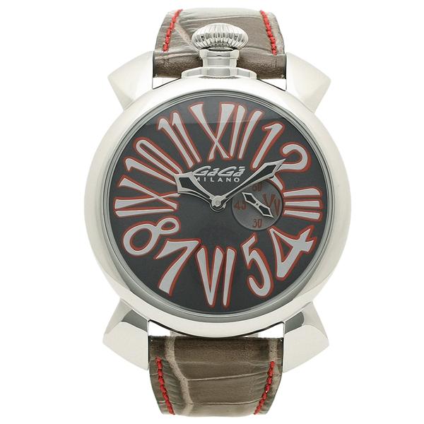 GAGA MILANO 腕時計 メンズ ガガミラノ 5084.02 ブラック シルバー レッド