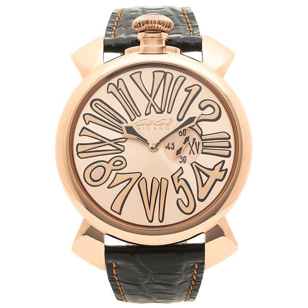 GAGA MILANO 腕時計 メンズ ガガミラノ 5085.02 ピンクゴールド ブラック