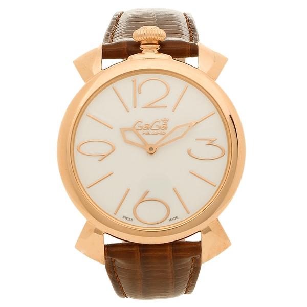 GAGA MILANO 腕時計 メンズ ガガミラノ 5091.01-BRW-N ホワイト ブラウン