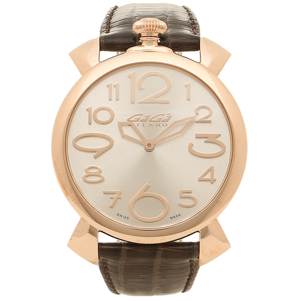 GAGA MILANO 腕時計 メンズ ガガミラノ 5091.04-DBR-N ダークブラウン ピンクゴールド