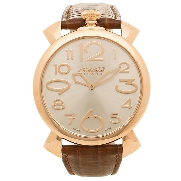 GAGA MILANO 腕時計 メンズ ガガミラノ 5091.04 シルバー ブラウン ピンクゴールド