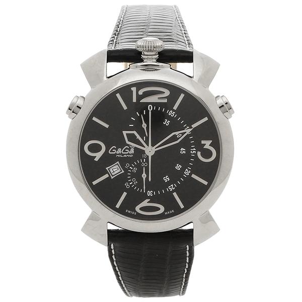 GAGA MILANO 腕時計 メンズ ガガミラノ 5097.01BK-N-ST ブラック シルバー