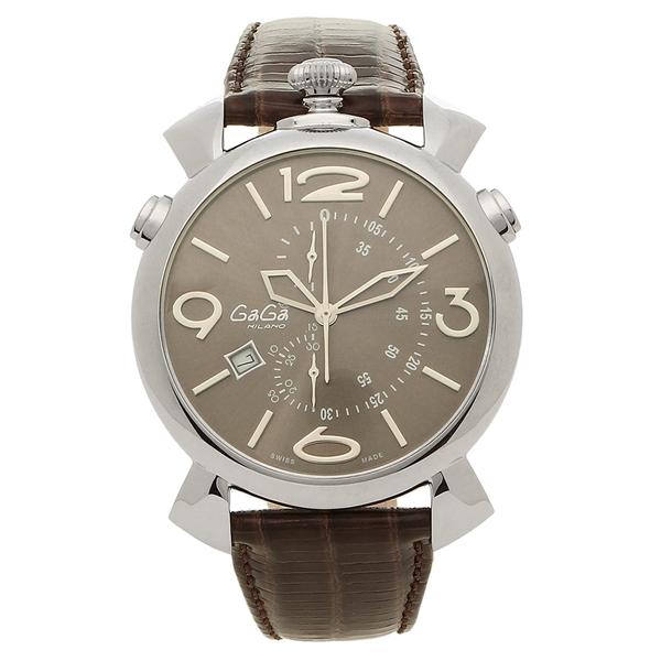 GAGA MILANO 腕時計 メンズ ガガミラノ 5097.03BW-N グレー ブラウン シルバー