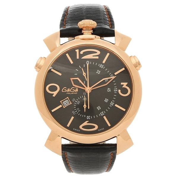 GAGA MILANO 腕時計 メンズ ガガミラノ 5098.02BK-N ブラック ピンクゴールド