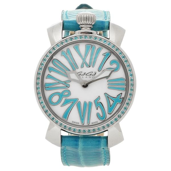 GAGA MILANO 腕時計 メンズ レディース ガガミラノ 6025.03 ホワイトパール ブルー シルバー