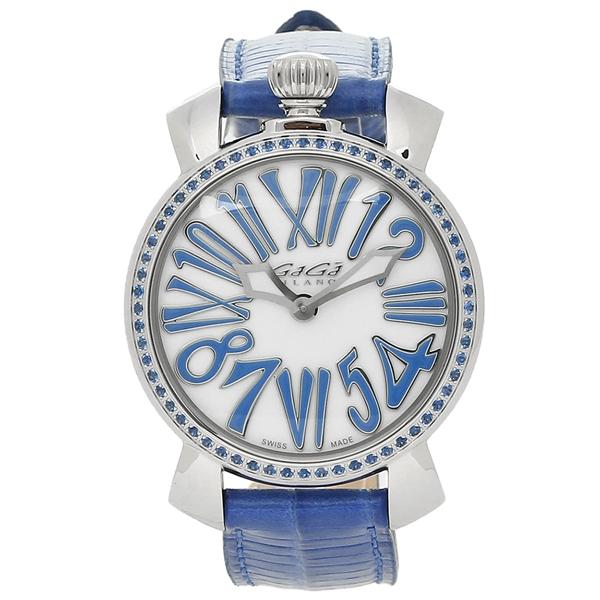 GAGA MILANO 腕時計 メンズ レディース ガガミラノ 6025.04 ホワイトパール ブルー シルバー