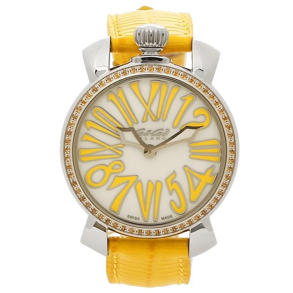 GAGA MILANO 腕時計 メンズ レディース ガガミラノ 6025.06 ホワイトパール イエロー シルバー