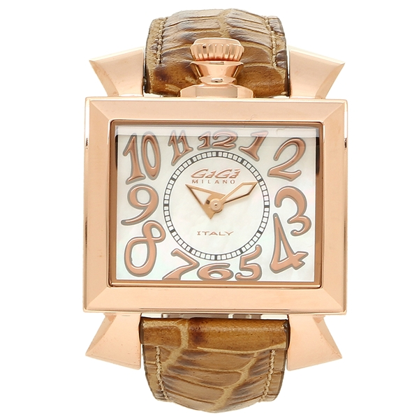 GAGA MILANO 腕時計 レディース ガガミラノ 6031.2-LBR-NEW ホワイトパール ブラウン ローズゴールド