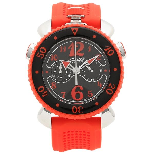 GAGA MILANO 腕時計 メンズ ガガミラノ 7010.05 ブラック レッド シルバー