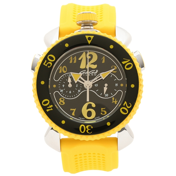 GAGA MILANO 腕時計 メンズ ガガミラノ 7010.06 ブラック イエロー シルバー