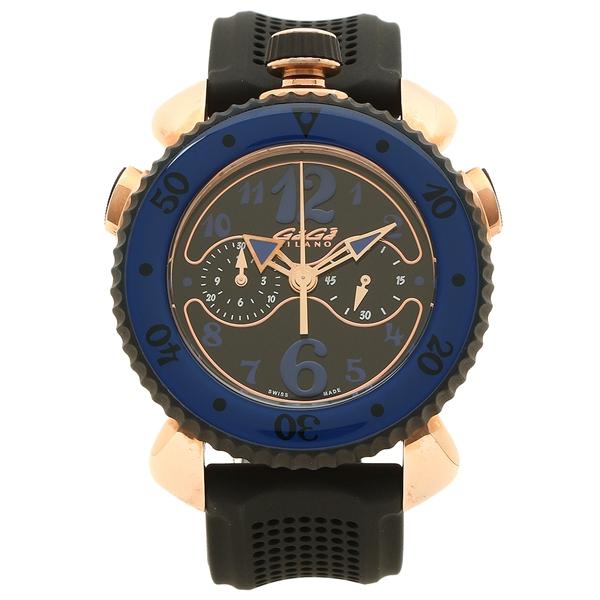 GAGA MILANO 腕時計 メンズ ガガミラノ 7011.01 ブラック ブルー ピンクゴールド