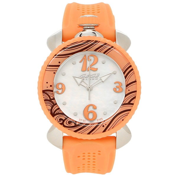 GAGA MILANO 腕時計 レディース ガガミラノ 7020.05 ホワイトパール オレンジ シルバー