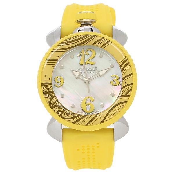 GAGA MILANO 腕時計 レディース ガガミラノ 7020.08 ホワイトパール イエロー シルバー