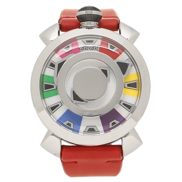 GAGA MILANO 腕時計 メンズ ガガミラノ 9090.01 スケルトンマルチカラー レッド シルバー