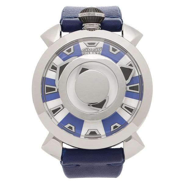 GAGA MILANO 腕時計 メンズ ガガミラノ 9090.02 スケルトンブルー シルバー