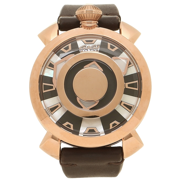 GAGA MILANO 腕時計 メンズ ガガミラノ 9091.01 スケルトン ダークブラウン ローズゴールド
