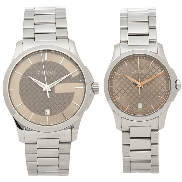 GUCCI 腕時計 ペアウォッチ レディース メンズ グッチ YA126445 YA126594 シルバー ブラウン
