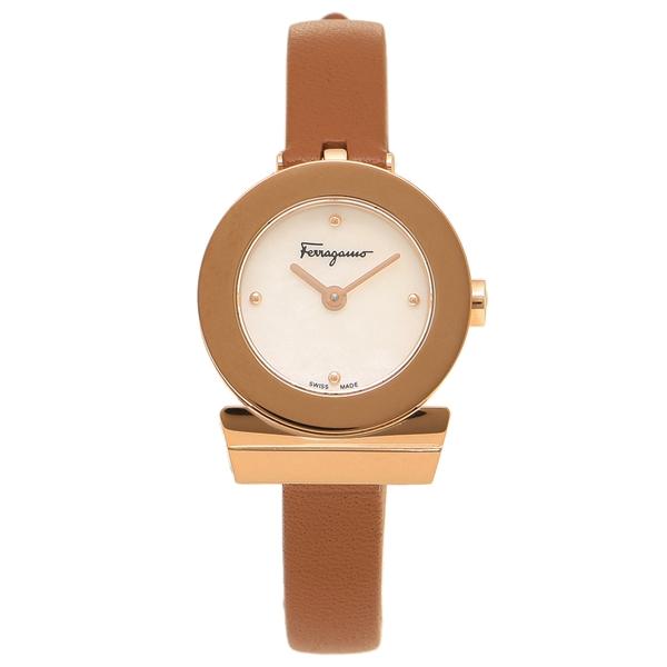 Salvatore Ferragamo 腕時計 レディース フェラガモ F43070017 ブラウン パール ローズゴールド