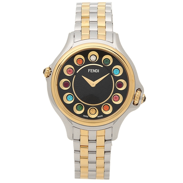 FENDI 腕時計 レディース フェンディ F107121000T05 シルバー イエローゴールド ブラック マルチカラー