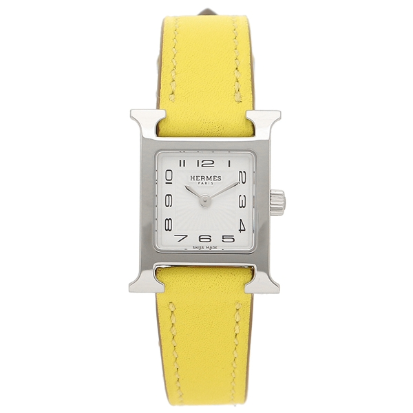 HERMES 腕時計 レディース エルメス W038956WW00 HH1.110.131/WW9R Hウォッチ ミニ ライムイエロー シルバー