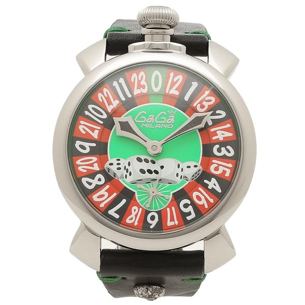 GAGA MILANO 腕時計 メンズ 手巻き ガガミラノ 5010LV01-BLK-SKULL ブラック グリーン