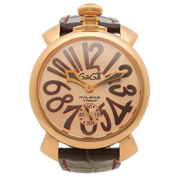 GAGA MILANO 腕時計 メンズ 手巻き ガガミラノ 5011.11S-DBR ダークブラウン ピンクゴールド