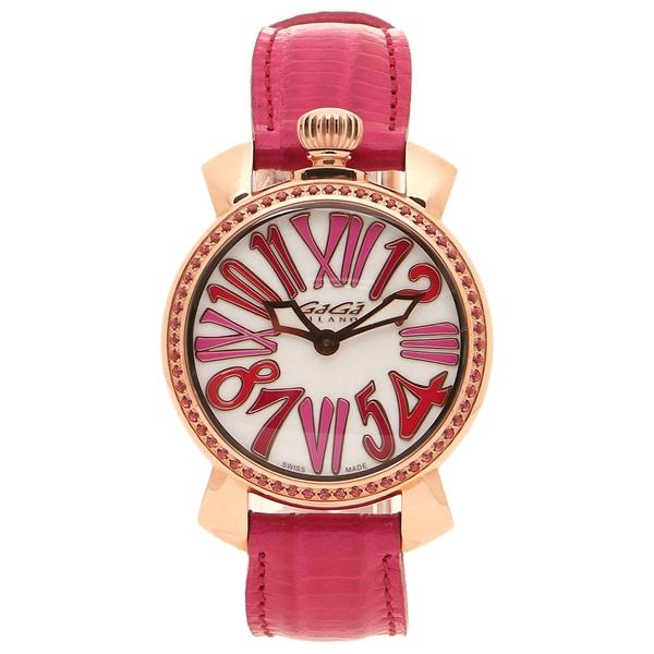 GAGA MILANO 腕時計 レディース メンズ ガガミラノ 6026.04 レッド ホワイトパール