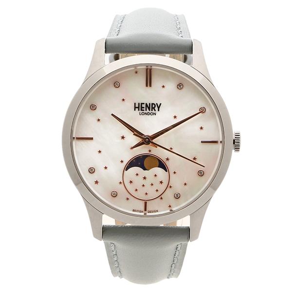 HENRY LONDON 腕時計 レディース メンズ MOONPHASE ムーンフェイズ 34MM ヘンリーロンドン HL35-LS-0327 シルバー
