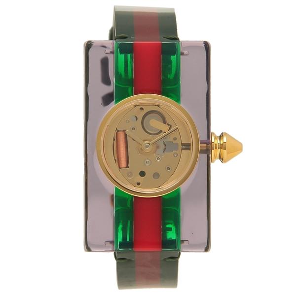 GUCCI 腕時計 レディースVINTAGE WEB ヴィンテージウェブ スケルトン グッチ YA143505 グリーン レッド