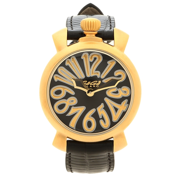 GAGA MILANO 腕時計 レディース ガガミラノ 6023.02LT 35MM ブラック ゴールド