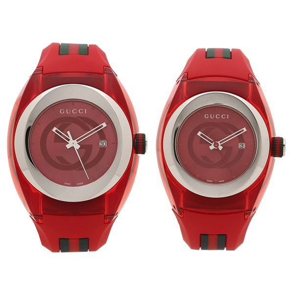GUCCI 腕時計 ペアウォッチ レディース メンズ グッチ YA137103A YA137303 36MM 46MM レッド