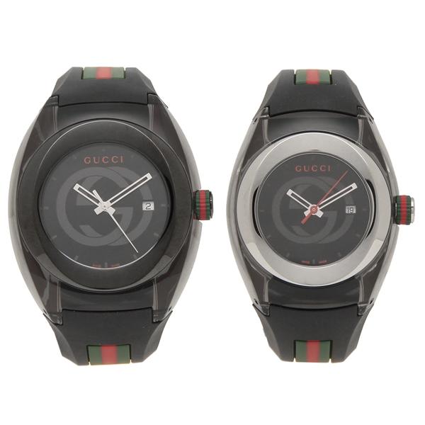GUCCI 腕時計 ペアウォッチ レディース メンズ グッチ YA137107A YA137301 36MM 46MM ブラック