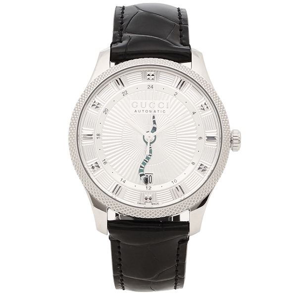 GUCCI 腕時計 メンズ グッチ YA126345 40MM 自動巻き シルバー ブラック